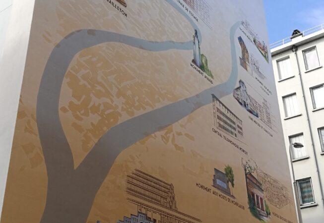 Musee Urbain Tony Garnier - murale del Musee Urbain Tony Garnier - murale del Quartiere Stati Uniti a Lione Stati Uniti a Lione